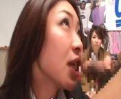 Japanese game show blowjob demonstration cumshot Riri Kouda from porn game show